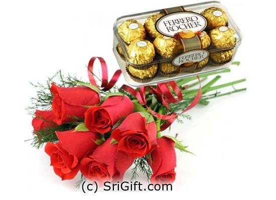Send 16 pcs Ferrero Rocher with Red Roses to your loved ones.