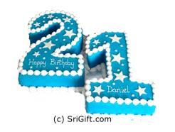 21st Number Birthday Cake. Weight: 4Kg